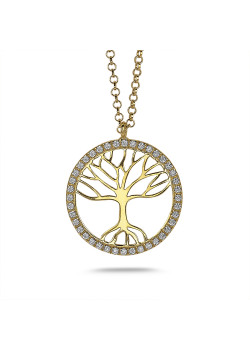 18ct gold plated silver necklace, tree of life in zirconia