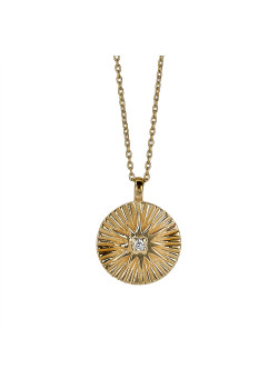 18ct gold plated silver necklace, round with star, zirconia