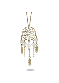 18ct gold plated silver necklace, dream catcher, 5 pearls