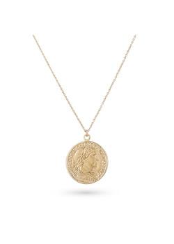 Halsketting in 18kt verguld zilver, grote caesar munt