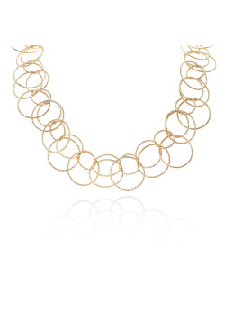 High fashion halsketting, gebeitelde dubbele cirkels, goudkleur
