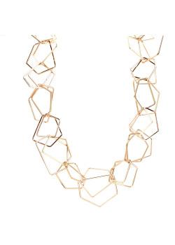 High fashion halsketting, dubbele geometrische schakel, goudkleur