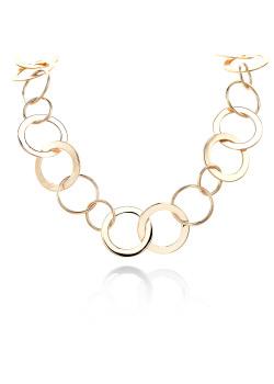 High fashion halsketting, lang met ronde schakels, goudkleur