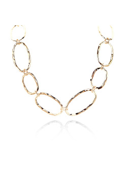 High fashion halsketting, ovale schakels, goudkleur