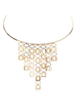 High fashion halsketting, choker, hangende geometrische motieven, goudkleur