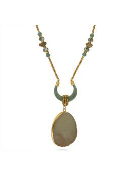 Lange high fashion halsketting, goudkleurig, turquoise druppel en hoorn