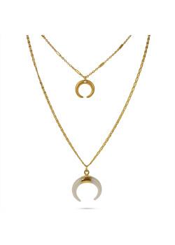 Collier haute fantaisie, couleur or, double chaîne, corne dorée et blanche