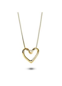 Halsketting in 18kt plaqué goud, open hart