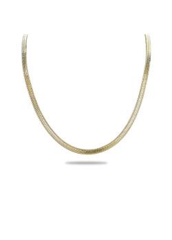 Halsketting in 18kt plaqué goud, platte slangketting