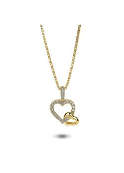Collier plaqué or, pendentif duo de coeurs, zircons