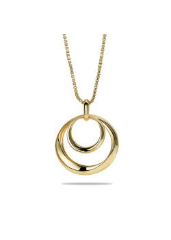 halsketting in 18kt plaqué goud, dubbele cirkel