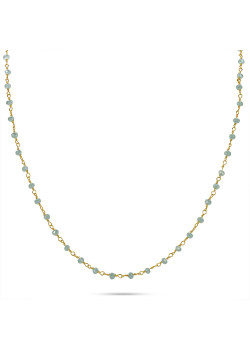 Gold-coloured stainless steel necklace, light blue stones