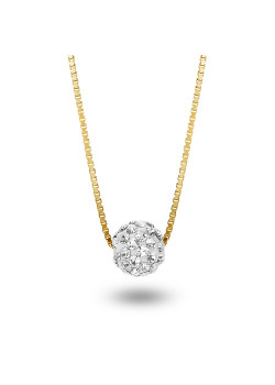 18ct gold plated necklace,  ball with white crystals