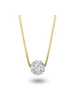 Halsketting in 18kt plaqué goud, witte kristallen bol