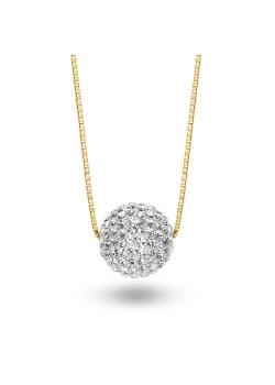 Halsketting in 18kt verguld zilver, bol met witte kristallen