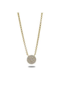 18ct gold plated silver necklace, round with zirconia