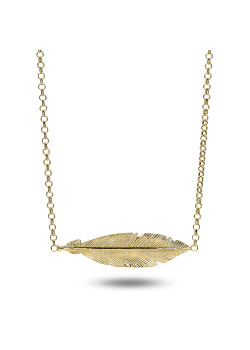 18ct gold plated silver necklace, feather motif