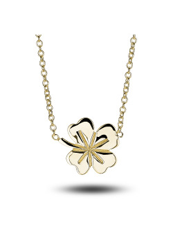 18ct gold plated silver necklace, lucky clover