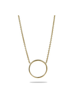 18ct gold plated silver necklace, 16 mm circle