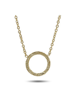 18ct gold plated silver necklace, hammered circle