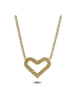 Halsketting in 18kt verguld zilver, gehamerd hart
