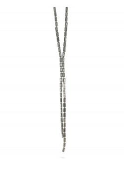 Lange high fashion halsketting, grijze rechthoekige stenen, 2 rijen