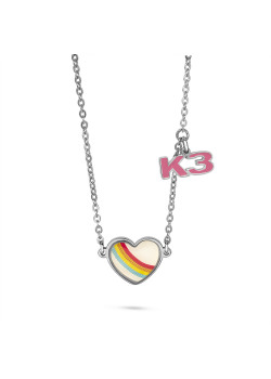 K3 collection, necklace with rainbow heart and K3