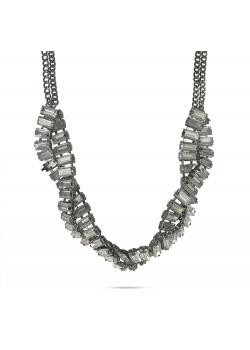High fashion halsketting, zigzag van grijze rechthoekige stenen, dubbele ketting