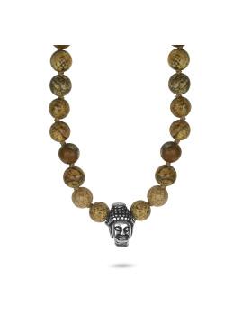 Halsketting in edelstaal, boeddha