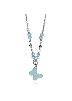 Halsketting in zilver, turquoise vlinder met steentjes