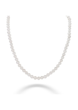 Halsketting in zilver, parels van 6 mm