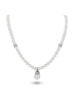 Halsketting in zilver, parels en kristallen