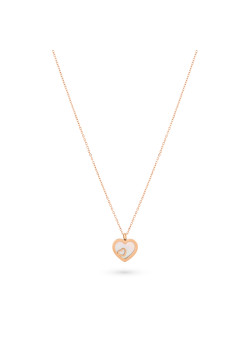 Rosé stainless steel necklace, heart in mother of pearl, small heart