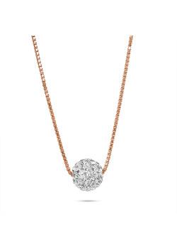 Lange halsketting in rosé zilver, witte kristallen bol