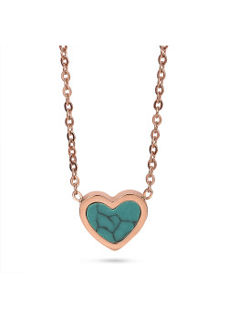 Rosé stainless steel necklace, turquoise heart with marble effect