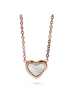 Rosé stainless steel necklace, pearl heart
