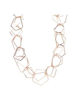 High fashion halsketting, dubbele geometrische schakel, rosé