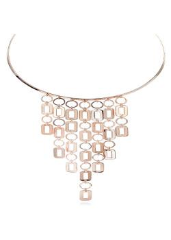 High fashion halsketting, choker, hangende geometrische motieven, rosé