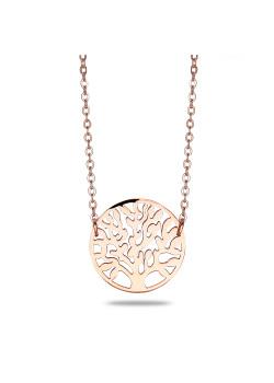 halsketting in rosé edelstaal, levensboom motief