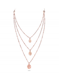 halsketting in rosé edelstaal, ovaaltjes met motief