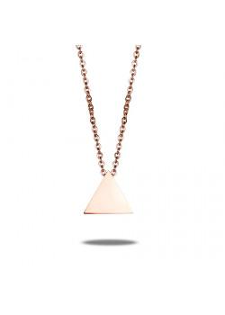 collier en acier poli rosé, petit triangle