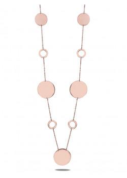 halsketting in rosé edelstaal, lang, cirkels en rondes