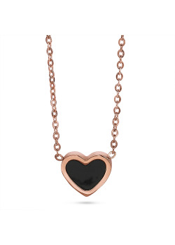 Rosé stainless steel necklace, black heart with marble effect