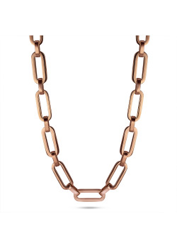 Rosé stainless steel necklace, ovals