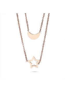 Halsketting in rosé edelstaal, maan en ster