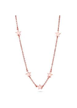 Halsketting in rosé edelstaal, sterretjes