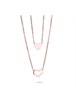 Rosé stainless steel necklace, 2 hearts