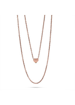 Rosé stainless steel necklace, double chain, little heart