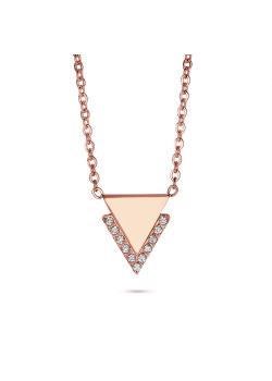 Halsketting in rosé edelstaal, driehoekje