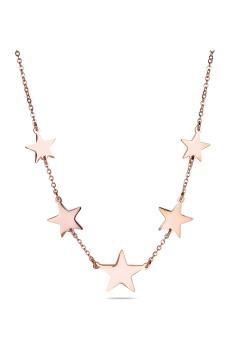 Halsketting in rosé edelstaal, sterren